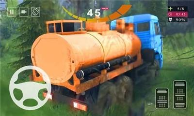 卡车驾驶类游戏《油轮卡车驾驶模拟器》越过障碍完成运输
