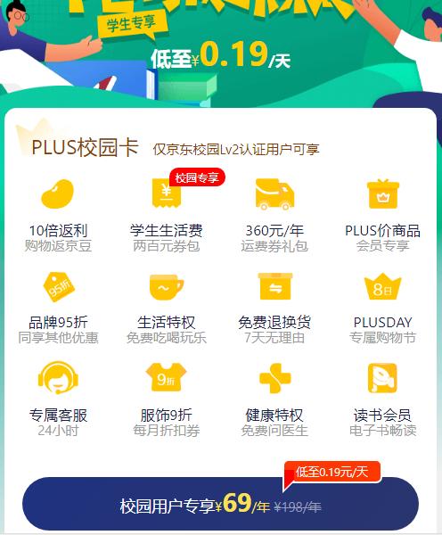 69元开通一年京东plus校园卡 享十二大权益